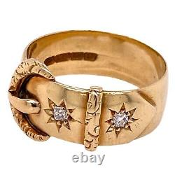 Victorian Old Mine Cut Diamond 18 Karat Yellow Gold Buckle Ring Vintage Antique