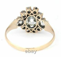 Victorian Solid 14k Yellow Gold 1.32ctw Old Mine Cut Diamond Halo Cocktail Ring
