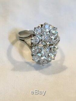 Vintage 14K White Gold Diamond Ring, 12 Old Mine Cut Diamonds. 93 tcw