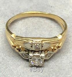 Vintage 14k Gold Estate Diamond Engagement Ring Wedding Set Antique Old