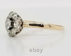 Vintage 14k gold platinum Diamond ring OLD MINE CUT 0.82ct SI2 circ 1900's
