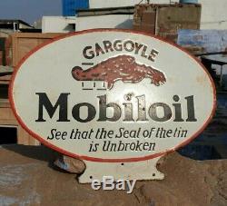 Vintage 1930's Old Antique Very Rare Mobil Oil Stand Porcelain Enamel Sign Board