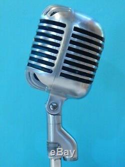 Vintage 1940S Shure 55C Fatboy Microphone W Vintage Atlas Desk Stand Old Antique