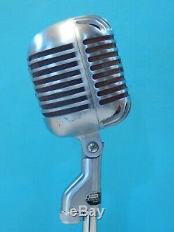 Vintage 1940S Shure 55 Fatboy Microphone And Atlas Desk Stand Old Antique Deco