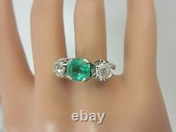 Vintage Antique 18k White Gold 2.25 carat Emerald Old Mine Diamond Ring 3.55 ct