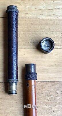 Vintage Antique 19C England Gadget Compass Spy Glass Walking Stick Cane Horn Old