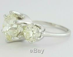 Vintage Antique 4.1 ct 14k White Gold Old European Cut Three-Stone Diamond Ring