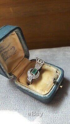 Vintage Antique Estate Emerald Old Cut Diamond Filigree Palladium Ring Size 5.5