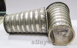 Vintage Antique Ethnic Tribal Old Silver Cuff Bracelet Bangle Pair Rajasthan Ind