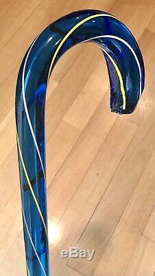 Vintage Antique Hand Blown Glass Cobalt Blue Heavy Walking Stick Cane Old 36L