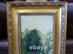 Vintage Antique Old Gold Framed British Oil on board Painting River Landscape