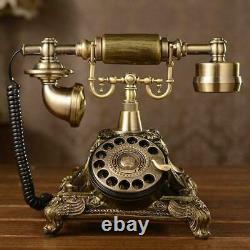 Vintage Antique Phone Old Fashioned Golden Corded Retro Handset Telephone Office