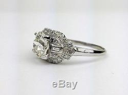 Vintage Antique Platinum Round Old European Diamond Engagement Ring GIA VS2