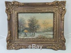 Vintage Antique old German Oil Painting Woods scene landscape framed art
