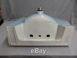 Vintage Blue Porcelain Ceramic Bathroom Sink Old Standard Plumbing 443-16
