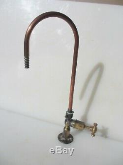 Vintage Brass Kitchen Sink Copper Swan Head Neck Tap Taps Old Laboratory 16H
