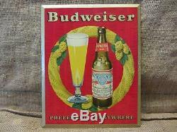 Vintage Budweiser Beer Metal Litho Sign Antique Old Brewery Bud Light 9425