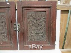 Vintage Carved Wooden Panels Plaques Antique French Old Wood Doors Urn Floral