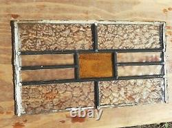 Vintage Coloured Stained Privicy Glass Panel old project yellow amber 17 x 11