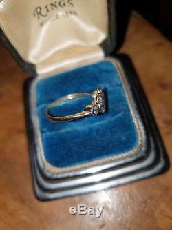 Vintage Edwardian Antique Daisy Diamond Ring Old Cut Stones Original 18ct