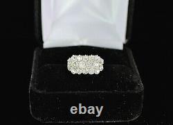 Vintage Estate 14K Yellow Gold Platinum Top Old Miner Cut Diamond Ring Band 3.5