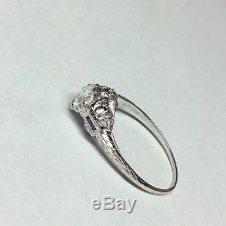 Vintage Estate Platinum Old Miner. 75 Ct Diamond Sapphire Filigree Antique Ring