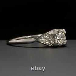 Vintage F Vs1 Diamond Platinum Engagement Ring Old European Cut Classic Antique