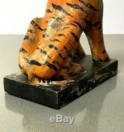 Vintage Indian Wooden Toys. Bengal Tiger. Wonderful Patination. New Old Stock