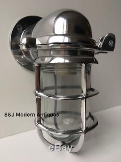 Vintage Industrial Wall Light Silver Aluminium Bulkhead Marine Nautical Lamp Old