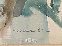Vintage Jan Miskulin Water Color Painting Signed Framed Picture Old Antique Art