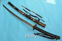 Vintage Japanese Sword Samurai Katana Old Signed Damascus Steel Dagger Fighting