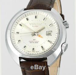 Vintage New Old Stock VIALUX Super-Shock Date Alarm All Swiss Mens Wrist Watch