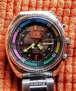 Vintage Nos (new Old Stock) Orient Crystal Sk Sea King Rare Grey Dial