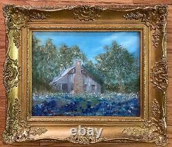Vintage Oil Painting-Bluebonnet Landscape-Antique Old Home-Ornate Frame