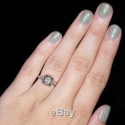 Vintage Old European Cut Diamond Sapphire Engagement Ring 18k Antique Art Deco