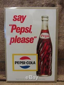 Vintage Pepsi Sign Antique Old Pepsi-Cola Soda Metal with Cardboard Back 9454