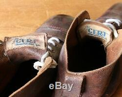 Vintage The Cert Leather Football Boots. Antique Old Soccer Shoes Cleats Size 10