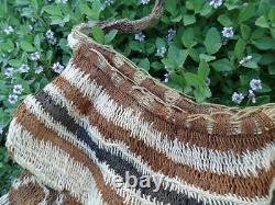 Vintage Traditional old hand woven Bilum bag Sepik River PNG Papua New Guinea