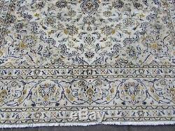 Vintage Worn Old Traditional Hand Made Rug Oriental White Wool Carpet 330x242cm