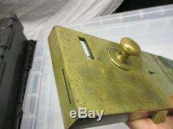 Vintage brass toilet door lock old penny in slot handle knob Vacant Engaged sign