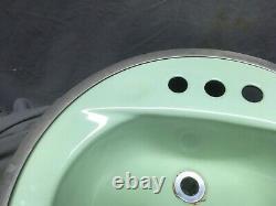 Vtg Cast Iron Jadeite Green Round Drop in Bathroom Sink Old Retro 348-20E