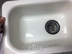 Vtg Cast Iron White Porcelain Drop In Single Basin Kitchen Prep Sink Old 61-18J