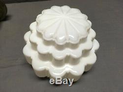 Vtg Deco Brass Pendant Light Fixture Milk Glass Wedding Cake Globe Old 77-20E