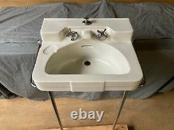 Vtg Mid Century White Bath Sink Chrome Legs Towel Bars Old Crane Drexel 138-21E