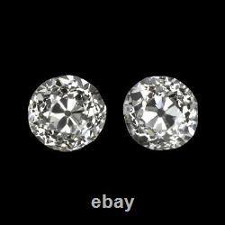 0.82ct H-i Vs1-si1 Old Europeen Cut Diamond Stud Earings Pair Vintage Antique