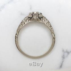 0.90ct Vieux Mine Cut Diamond Vintage Bague De Fiançailles Or Blanc Antique Solitaire