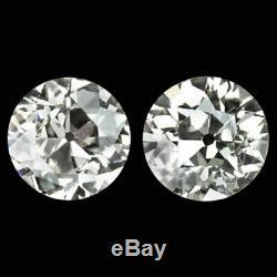 0,9 Ct Vieille Couverture Européen De Boucles D'oreille En Diamant Clean Paire Vintage Antique 1 Carat