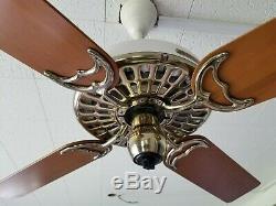 100 Year Old Hunter C17 Antique Électrique 52 Ceiling Fan-vintage-musée Restauré