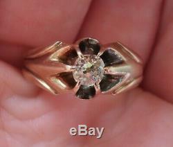 10k Antique Bague De Fiançailles Ensemble De Diamants Belcher Vintage Art Deco Ancienne Mine Vintage
