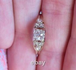 14k Ancienne Vieille Mine Ancienne Coupée Diamant Naturel Solitaire Fiançailles Bague Déco